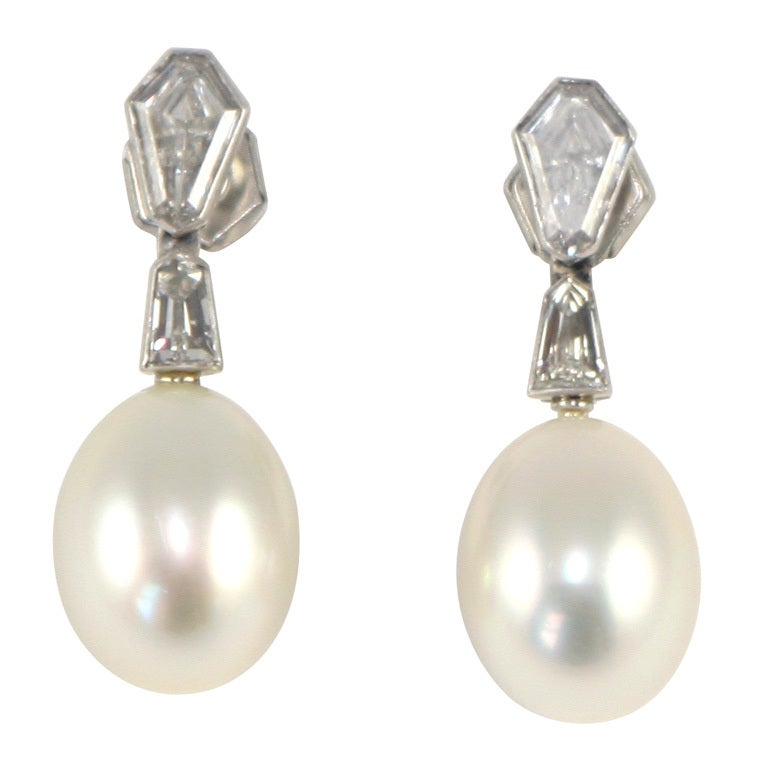 South Sea Cultured Pearl & Diamond Earrings For Sale