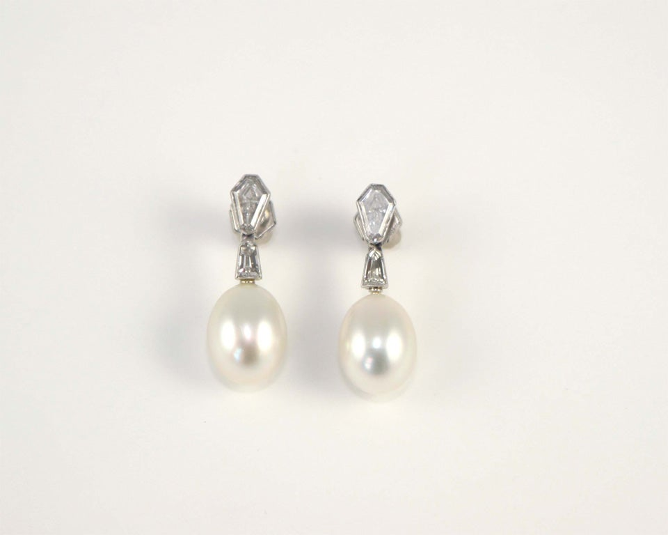 South Sea Cultured Pearl & Diamond Earrings For Sale 2