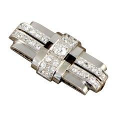 DUSAUSOY Paris Art Deco Diamond Brooch