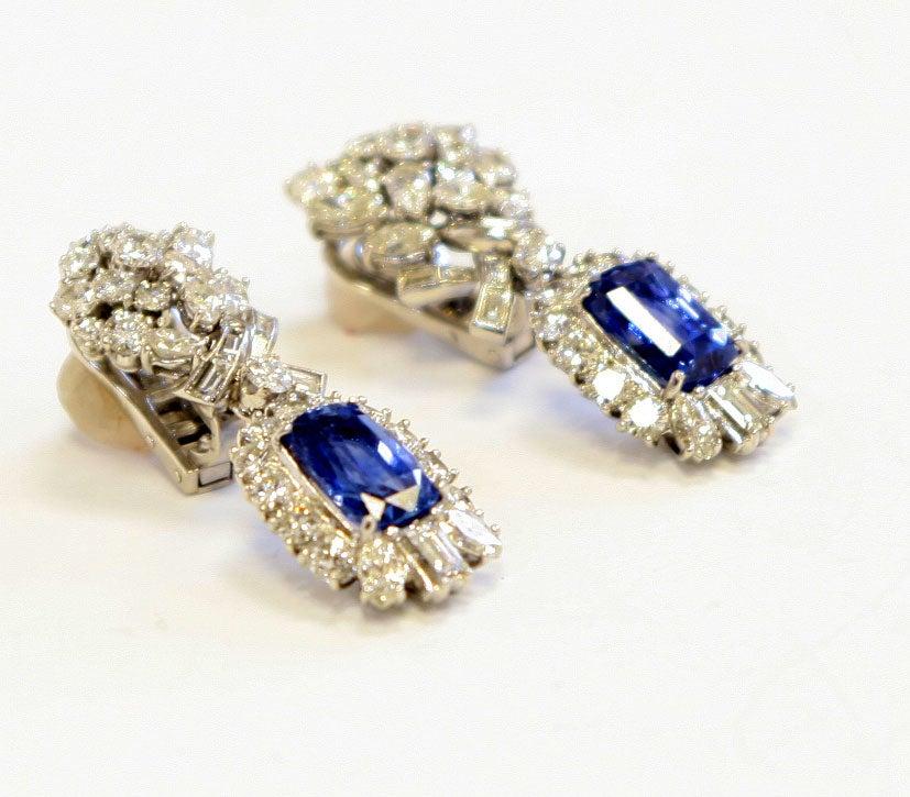 Platinum Diamond & Sapphire Ear Clips 7