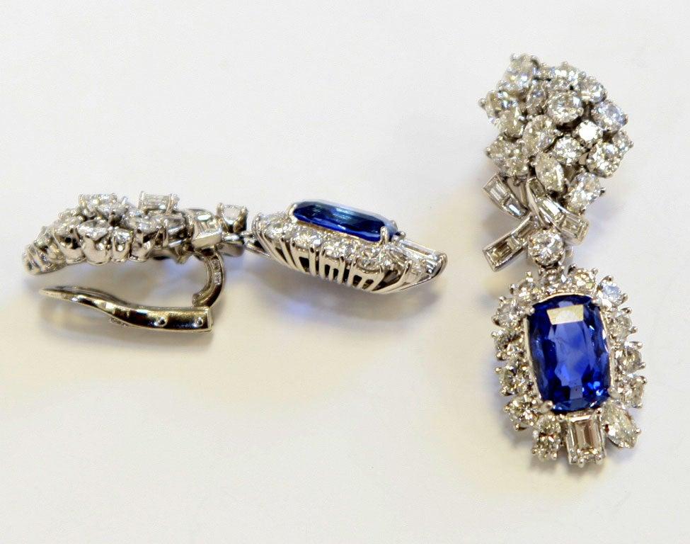 Platinum Diamond & Sapphire Ear Clips 3