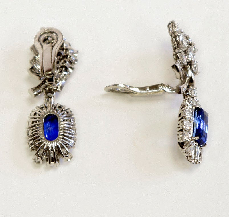 Platinum Diamond & Sapphire Ear Clips 4