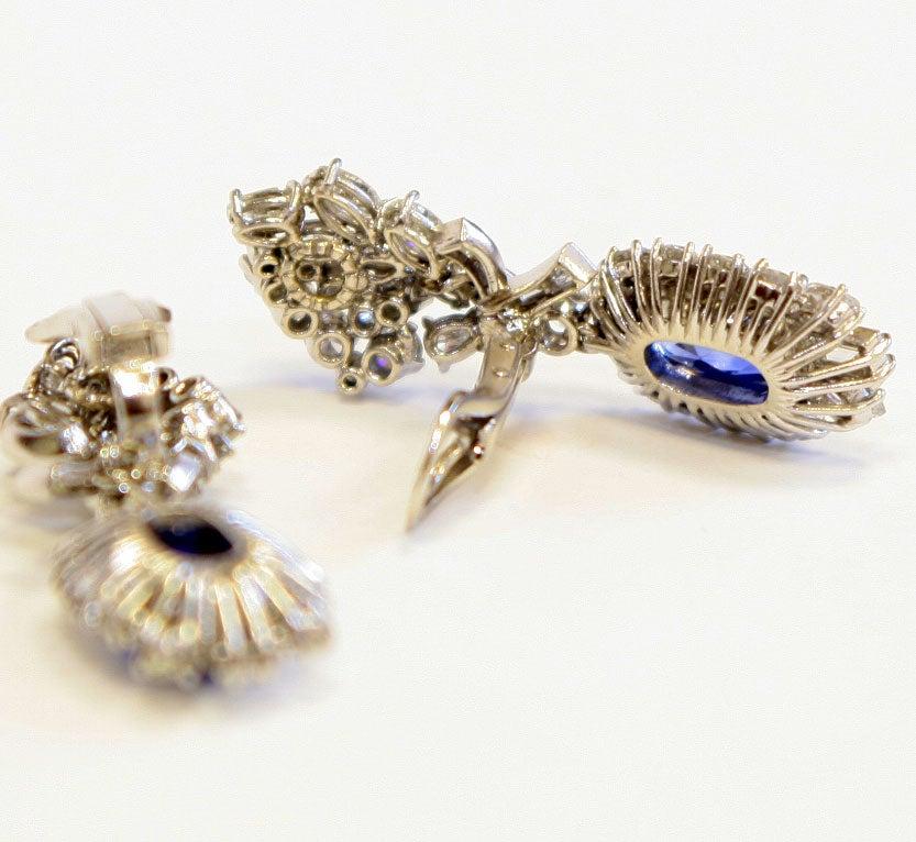 Platinum Diamond & Sapphire Ear Clips 5