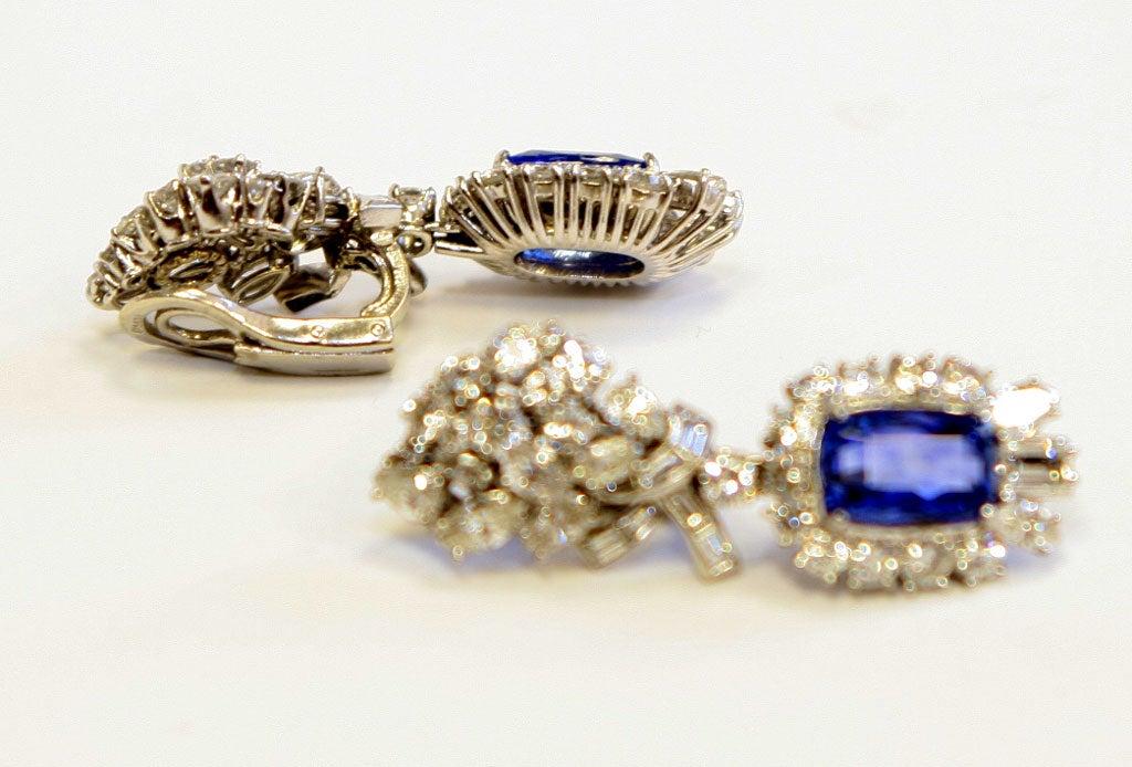 Platinum Diamond & Sapphire Ear Clips 6