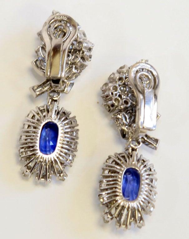 Platinum Diamond & Sapphire Ear Clips 2