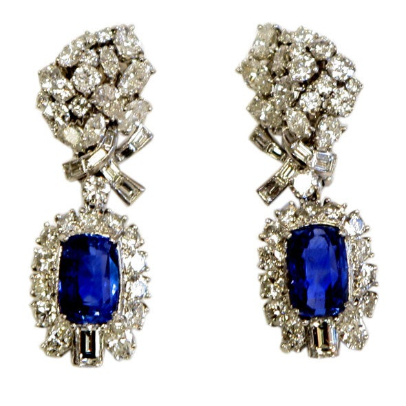 Platinum Diamond & Sapphire Ear Clips 1