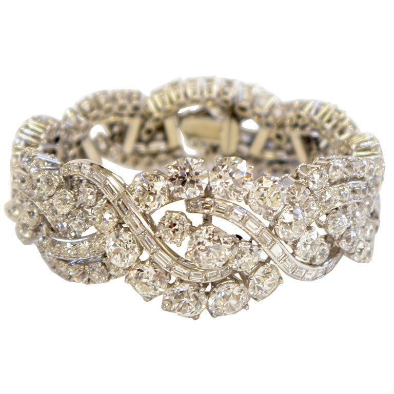 Spectacular Boucheron Platinum Diamond Bracelet For Sale