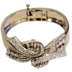 Elegant Platinum Diamond Dress Clip / Bracelet Combination