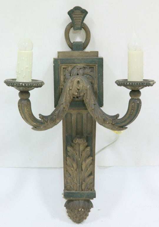 French Wooden Wall Lights : Sconce 19th Century French Carved Wood Single For Sale at 1stdibs
