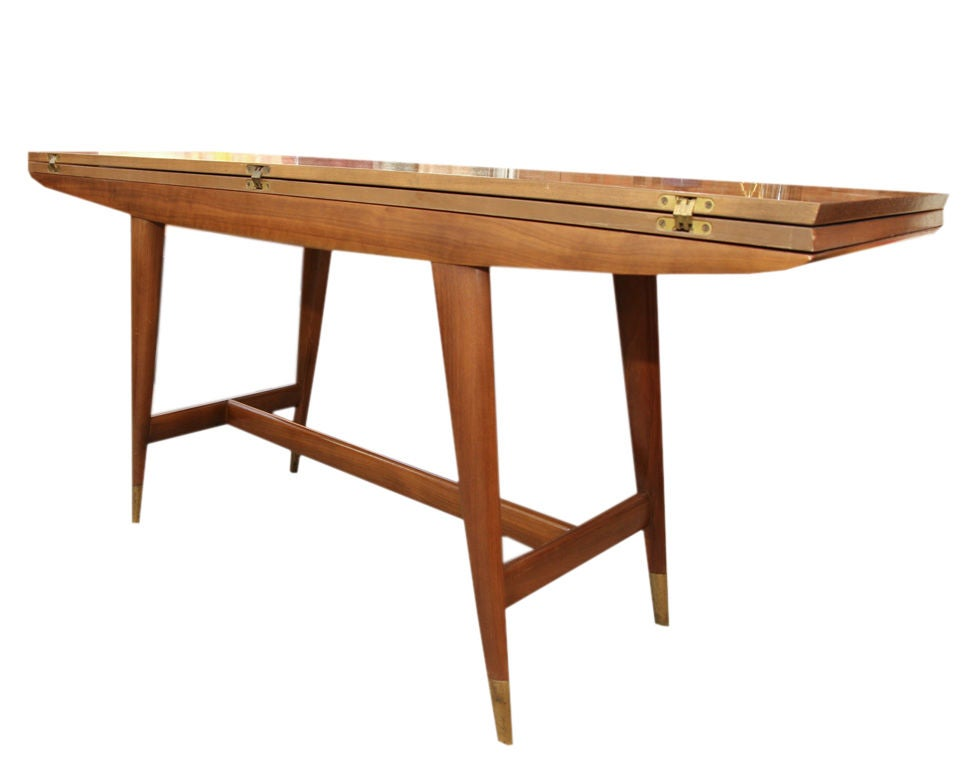 Gio Ponti Flip Top Walnut Dining Table For Singer And Sons At 1stdibs