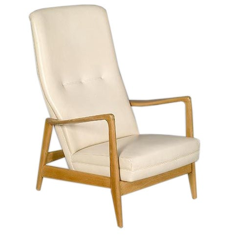 Birchwood Easychair designed by Gio Ponti (Cassina, Milano) for Hotel Parco dei Principe, Sorrento, 1958, Italy. This chair has the original vinyl upholstery.   Gio Ponti (1891-1979) Italy   Gio Ponti was born in 1891 in Milan where he spent his