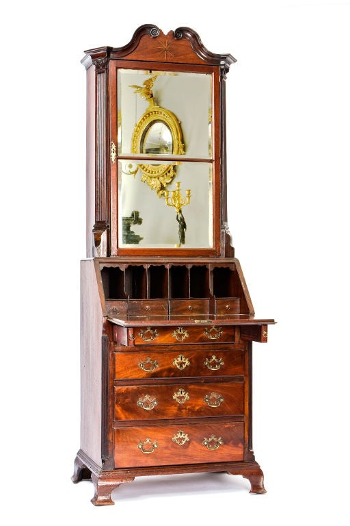 George IV Mahogany Bureau Bookcase In Excellent Condition For Sale In New York, NY