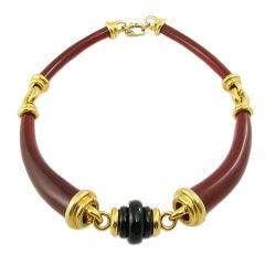 Cipullo Onyx and Carnelian Choker Necklace