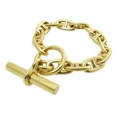 Hermes Gold Anchor Chain Toggle Bracelet