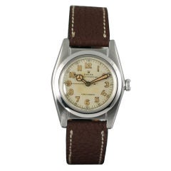 """Rolex  """"Bubble Back"""" Stainless Steel 1940s"""