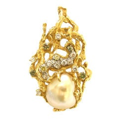 Gold, Colored Diamond and Pearl Pendant/Brooch by Arthur King