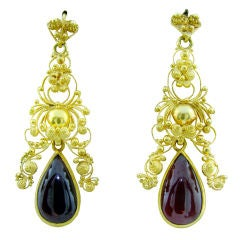 Victorian Etruscan Revival Garnet Earrings