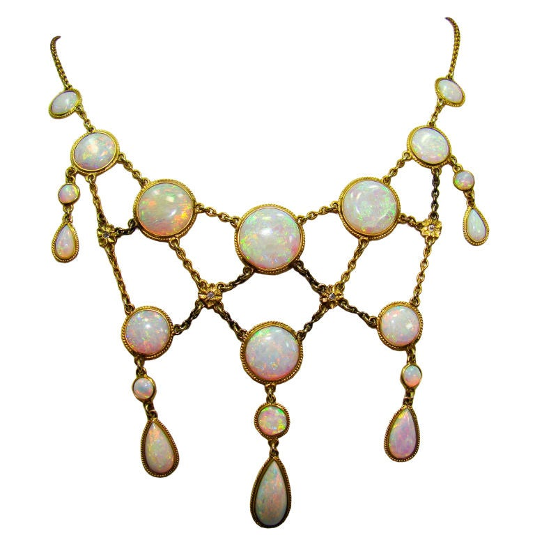 Victorian Opal and Diamond Necklace in 14K Yellow Gold 1