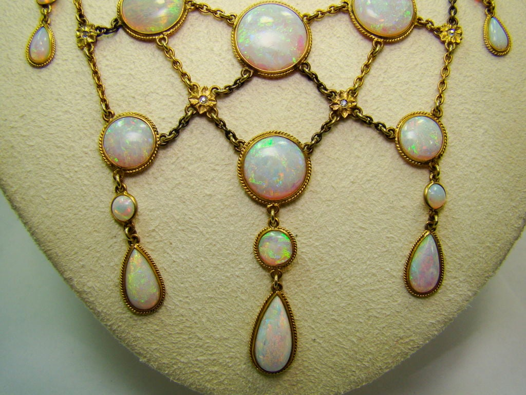 Victorian Opal and Diamond Necklace in 14K Yellow Gold 2
