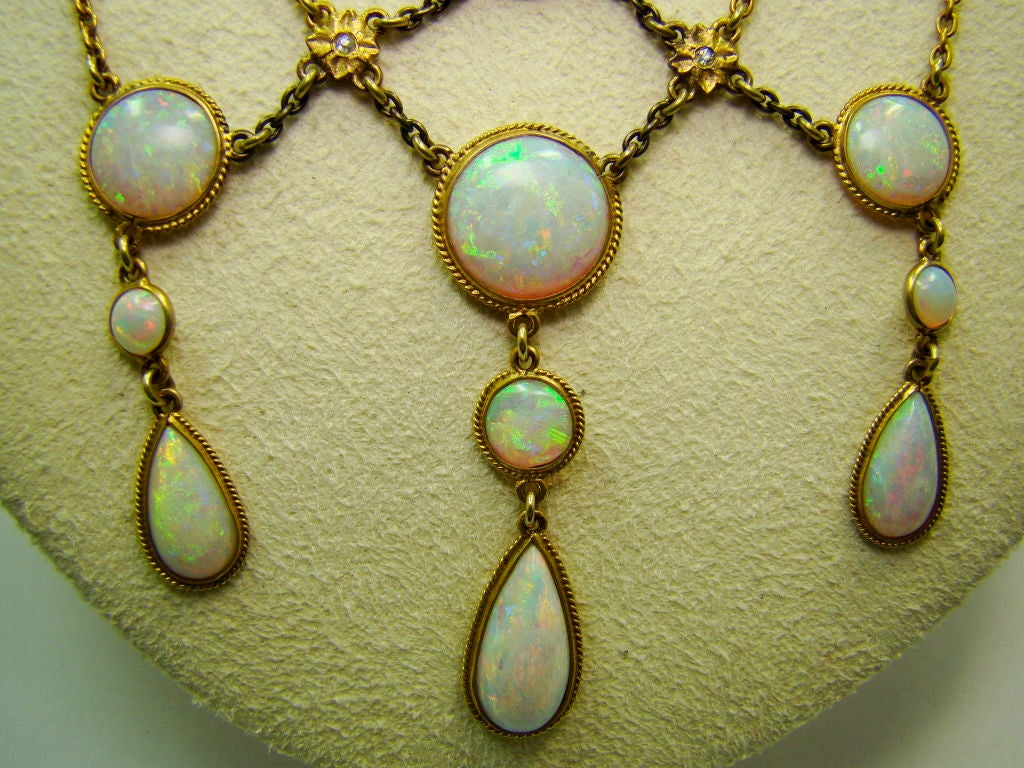Victorian Opal and Diamond Necklace in 14K Yellow Gold 3