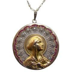 "Hand Pierced ""Mary Mother Magdalene"" Diamond & Ruby Pendant"