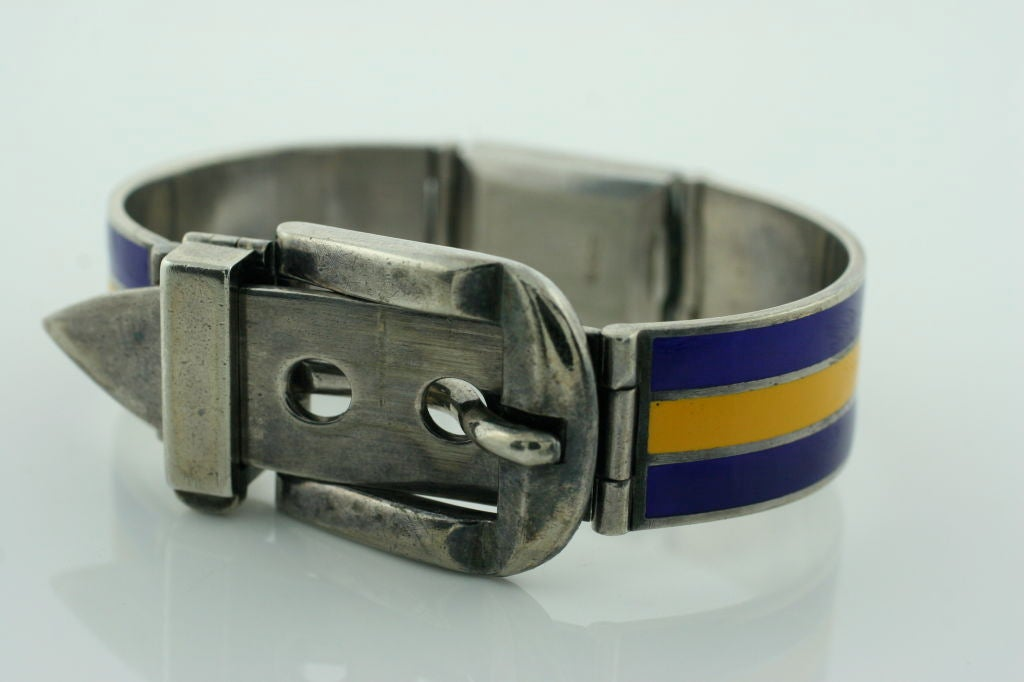 Blue and Yellow Enamel in Sterling Silver vintage watch bracelet. Made by Gucci