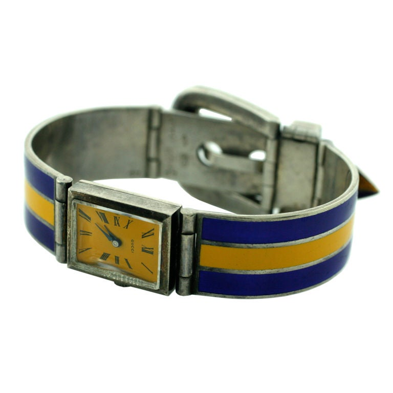 Gucci Sterling Silver and Enamel Watch Bracelet For Sale