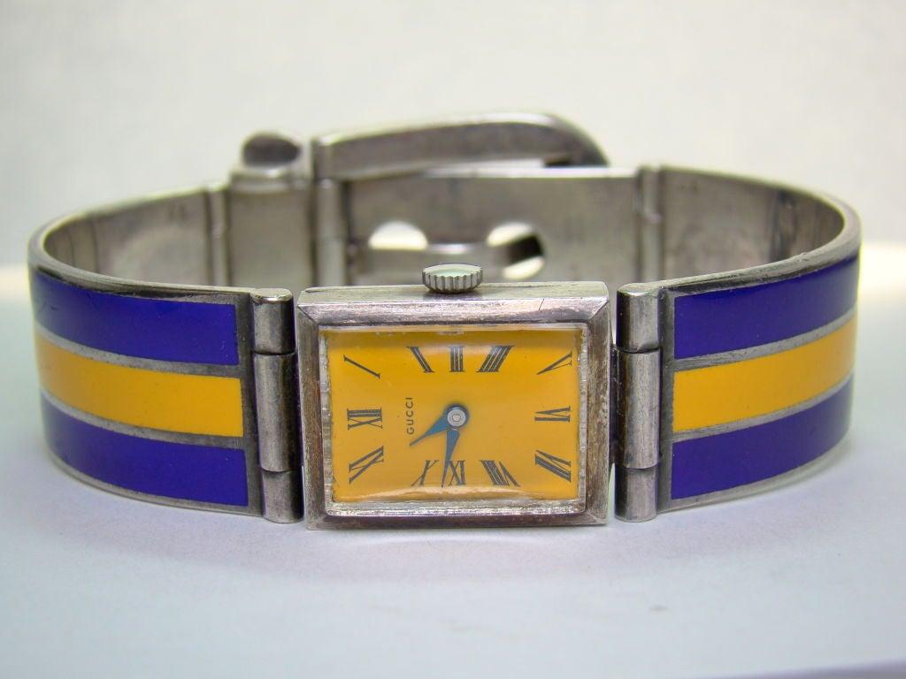 Women's Gucci Sterling Silver and Enamel Watch Bracelet For Sale