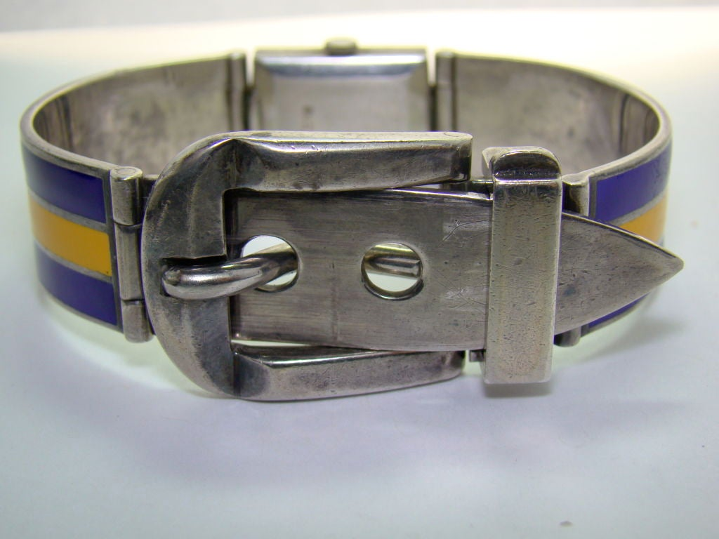 Gucci Sterling Silver and Enamel Watch Bracelet For Sale 1