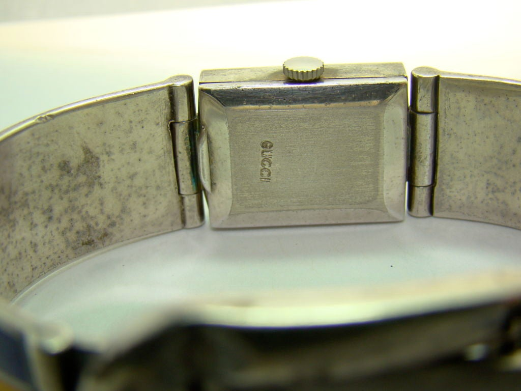 Gucci Sterling Silver and Enamel Watch Bracelet For Sale 3
