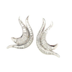 Platinum and Diamond Flame Earrings