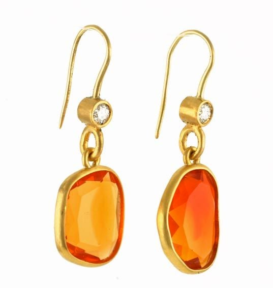 22Kt Gold, Diamond and Fire Opal Earrings at 1stdibs