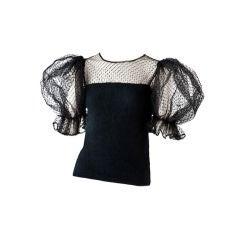 Valentino black  point d'esprit evening sweater