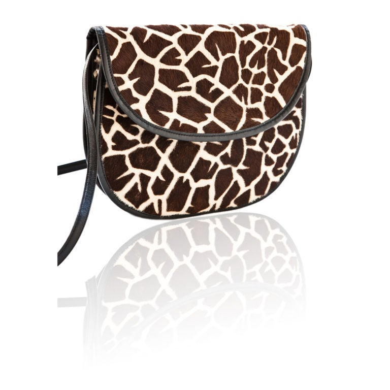 Halston stenciled giraffe print  shoulder bag/clutch