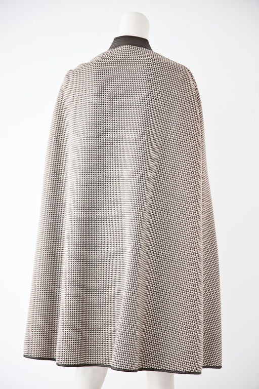 Bonnie Cashin leather trimmed double knit wool cape at 1stdibs