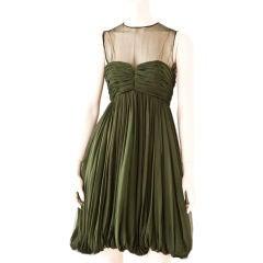 Bruce Oldfield Moss Green Georgette Empire Waist Cocktail Dress