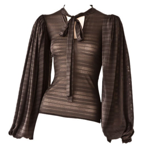 """Norma Kamali jersey blouse with full """"poet"""" sleeves C. 1970's 1"""