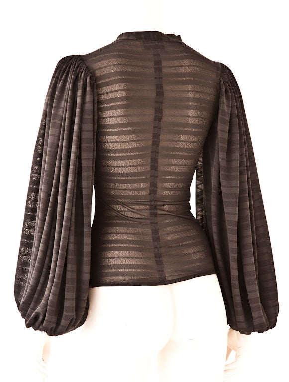 """Norma Kamali jersey blouse with full """"poet"""" sleeves C. 1970's 2"""