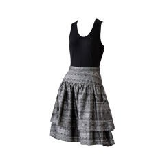 Valentino gray silk jacquard tiered skirt