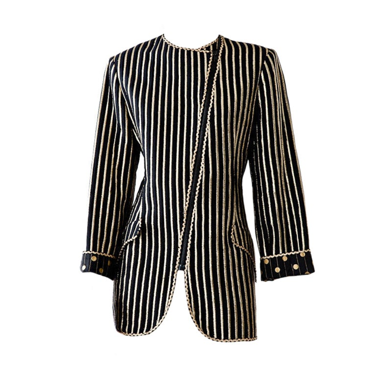 Geoffrey Beene dots + stripes lame long fitted evening jacket