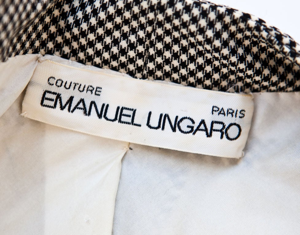 Ungaro couture black white houndstooth pattern wool suit for Couture labels