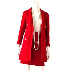 Red Wool Boucle Chanel Suit with Long Jacket
