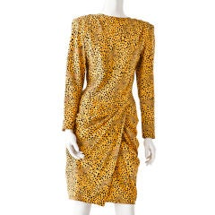 Vicky Tiel silk animal print draped dress