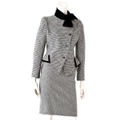 Ungaro black + white tweed suit with velvet detail