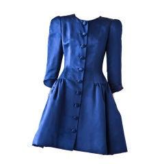 Oscar de la Renta sapphire blue duchess satin coat dress