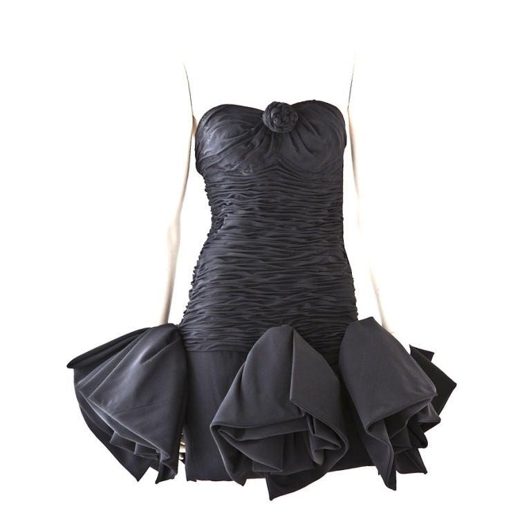 Ungaro black strapless ruched cocktail dress 1