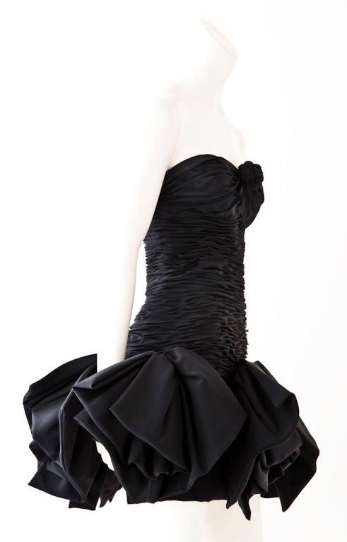Ungaro black strapless ruched cocktail dress 2