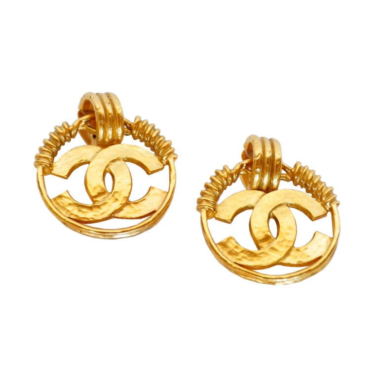 chanel gold tone cc earrings at 1stdibs