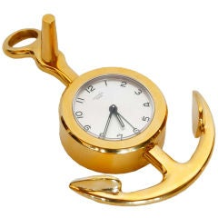 Hermes Gold Tone Anchor Alarm Clock