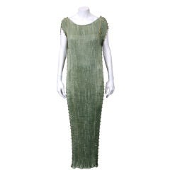 Mariano Fortuny Sage Green Pleated Silk Delphos Gown
